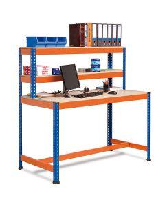 Stół roboczy z nadstawką i dolną belką
